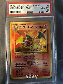 1996 Pokemon Card Japanese Charizard Base Set Holo Rare #6 PSA 10 GEM MINT
