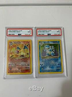1999 Charizard and Blastoise Holo Base Set Pokemon Card PSA 9