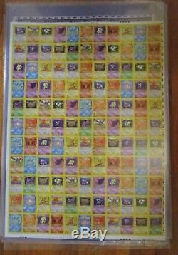 1999 FOSSIL Unlimited NON Holo Rare Pokemon Card Uncut Sheet. 110 cards