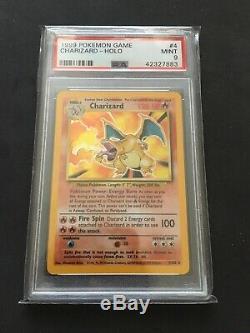 1999 PSA 9 MINT CHARIZARD Base Set (4/102) Holo Rare WOTC Pokemon Card