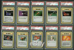 1999 Pokemon 1st Ed Shadowless 70 102 Complete 33 Card Trainer Base Set PSA 10