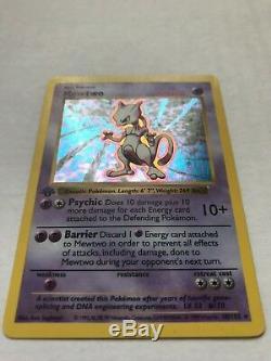 1999 Pokemon Card 1st Edition Shadowless Mewtwo Base Set 10/102 Holo Rare