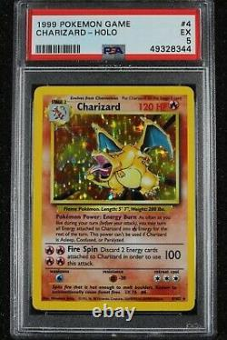 1999 Pokemon Charizard Holo Card PSA 5 4/102 EX Rare Base Set Unlimited