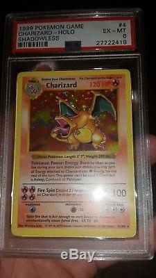 1999 Pokemon Charizard Shadowless PSA 6. Rare Card