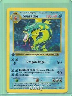 1999 RARE GYARADOS 1st EDITION HOLO 6/102 BASE SET SHADOWLESS POKEMON CARD