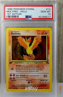 1st Ed Moltres Holo Rare 1999 WOTC Pokemon Card 12/62 Fossil Set PSA 10 GEM MINT