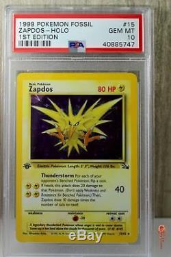 1st Ed Zapdos Holo Rare 1999 WOTC Pokemon Card 15/62 Fossil Set PSA 10 GEM MINT