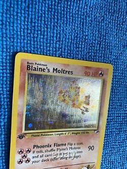 1st Edition Blaines Moltres 1/132 Holo Foil Rare Gym Heroes Pokemon Card SWIRL