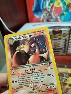 1st Edition Dark Charizard Holo Rare! SWIRL! Team Rocket POKEMON Card 4/82! EX