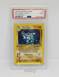 1st Edition Machamp Holo Rare 8/102 Base Set First Ed Pokemon Card PSA Mint Foil