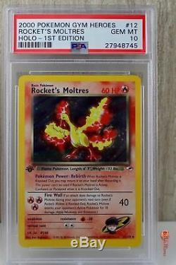 1st Edition Rocket's Moltres Holo Rare Pokemon Card 12/132 Gym PSA 10 GEM MINT