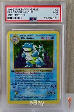 1st Edition Shadowless Blastoise Holo Rare Pokemon Card 2/102 Base Set PSA 7 NM