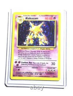 ALAKAZAM 1/102 Base Set Holo Pokemon Card EXC / NEAR MINT