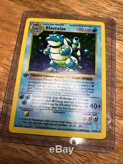 Blastoise 1st Edition Shadowless 2/102 Base Set Pokemon Card, Okay Condition