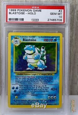 Blastoise Holo Rare 1999 WOTC Pokemon Card 2/102 Base Set PSA 10 GEM MINT