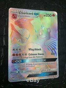 CHARIZARD-GX Pokemon TCG Card S&M Burning Shadows #150/147 SECRET RARE RAINBOWHP