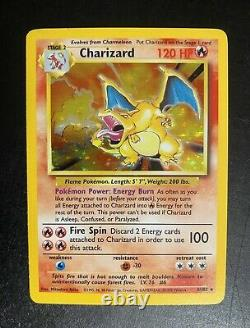 Charizard 4/102 Pokemon Card Rare Holographic Near Mint Base Set Unlimited Holo