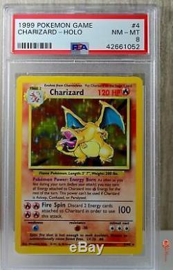 Charizard Holo Rare 1999 WOTC Pokemon Card 4/102 Base Set PSA 8 NEAR MINT MINT