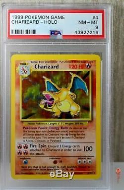 Charizard Holo Rare 1999 WOTC Pokemon Card 4/102 Base Set PSA 8 NM MINT