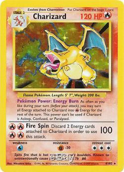 Charizard Holo Rare Rare Unlimited Pokemon Card Original Base Set 4/102
