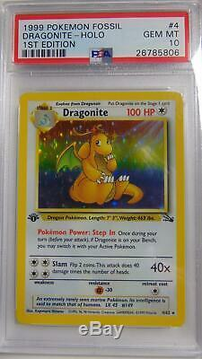 Dragonite 4/62 Fossil 1st Edition PSA 10 Gem Mint Holo Rare Pokemon Card