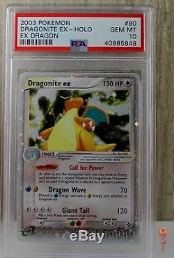 Dragonite EX Holo Rare 2003 Pokemon Card 90/97 EX Dragon Set PSA 10 GEM MINT