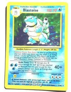 EXC Pokemon No Stage BLASTOISE Card BASE Set 2/102 Holo Rare Error/Misprint AP