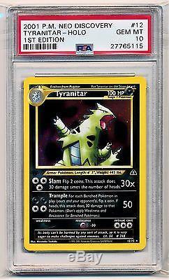 Gem Mint Psa 10 1st Edition Tyranitar Neo Discovery 12/75 Holo Rare Pokemon Card