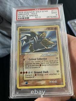 Gold Star Groudon 111/113 Pokemon Card EX Delta Species Holo Rare PSA 9 Mint