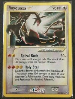 LP Rayquaza GOLD STAR 107/107 Ex Deoxys HOLO RARE Pokemon Card