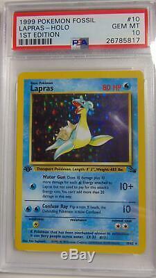 Lapras 10/62 Fossil 1st Edition PSA 10 Gem Mint Holo Rare Pokemon Card