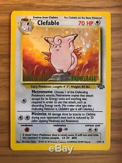 NEAR MINT! Pre Release Clefable (1/64) Rare Jungle Holo Pokemon Card! Fast P&P