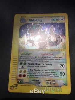 Nidoking Crystal Holo Rare Aquapolis Set 150/147 Pokemon Card NM-M Amazing