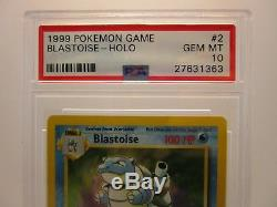 PSA 10 GEM MINT Blastoise Base Set Unlimited Holo Rare Pokemon Card 2/102 S42