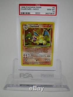 PSA 10 GEM MINT Charizard Base Set Unlimited Holo Rare Pokemon Card 4/102 B41