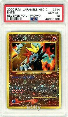 PSA 10 GEM MINT Entei #244 (Neo 2) Reverse Holo Promo Pokemon Card
