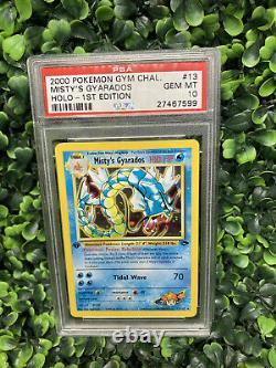 PSA 10 GEM MINT Misty's Gyarados 13/132 1ST EDITION Gym HOLO RARE Pokemon Card