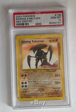 PSA 10 GEM MINT Shining Raichu and Shining Kabutops COMBO Neo Destiny 2002 Card