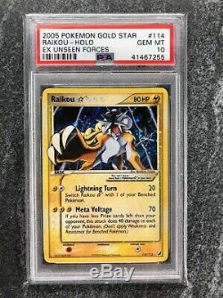 PSA 10 Gold Star Raikou Pokemon Card Holo Rare 114/115 EX Unseen Forces