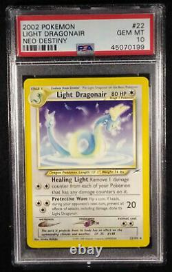 PSA 10 Light Dragonair 22 Non-Holo Neo Destiny Gem Mint 2002 Card (LOW POP)