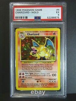 PSA 5 Charizard Original Holo 4/102 Foil Rare Base Set 1999 Graded Pokemon Card