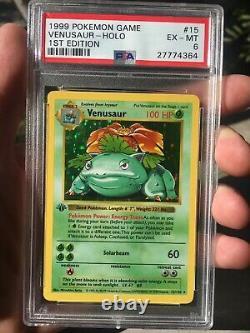 PSA 6 VENUSAUR 1st Edition 1999 Pokemon Cards Base #15/102 Holo Mint THICK STAMP
