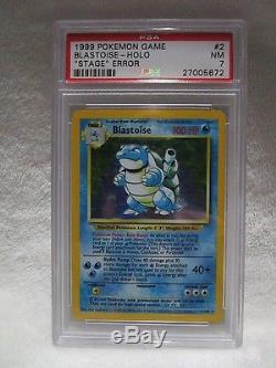 PSA 7 NM Blastoise Base Unlimited STAGE ERROR Holo Rare Pokemon Card 2/102 S29