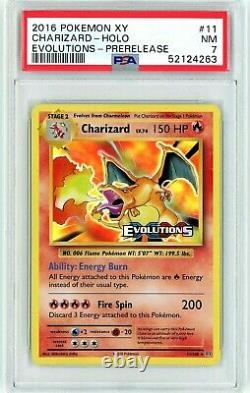 PSA 7 Near Mint PRERELEASE Charizard 11/108 (Evolutions) Holo Rare Pokemon Card