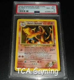 PSA 8 NM-MINT Blaine's Charizard 2/132 Gym Challenge HOLO RARE Pokemon Card