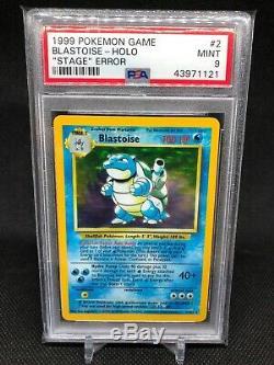 PSA 9 Blastoise No Stage Error Holo Rare 2/102 Authentic Pokemon Card WOTC 1999