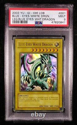 PSA 9 Blue Eyes White Dragon LOB-001 YU-GI-OH Legend Mint Card 2002