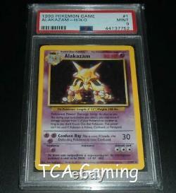 PSA 9 MINT Alakazam 1/102 Base Set HOLO RARE Pokemon Card