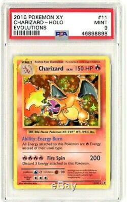 PSA 9 MINT Charizard 11/108 (Evolutions) Holo Rare Pokemon Card