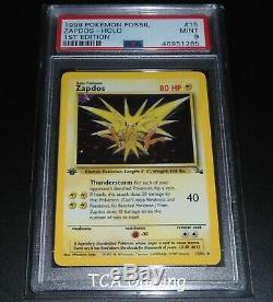 PSA 9 MINT Zapdos 15/62 1ST EDITION Fossil Set HOLO RARE Pokemon Card